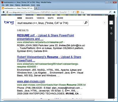 Sample Advanced Search Operator